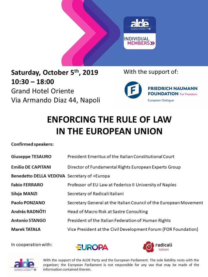 Napoli 5.10.2019 RESPECT OF THE RULE OF LAW IN THE EUROPEAN UNION ALDE Party Individual Members