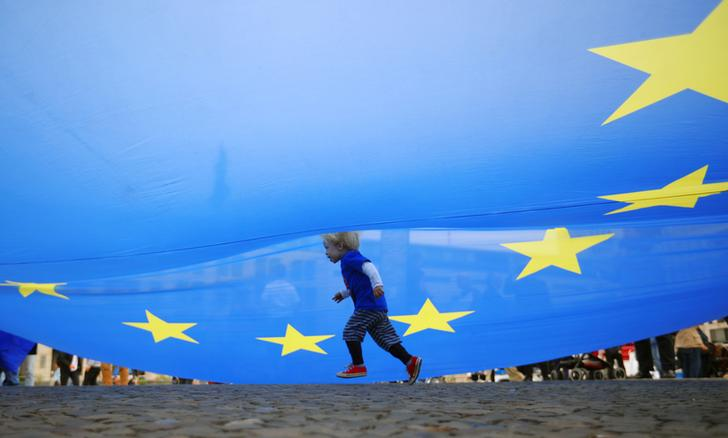 child under eu flag